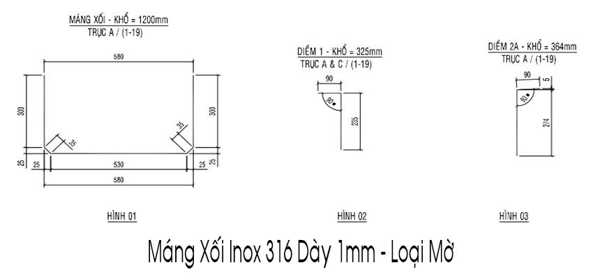 Một số mẫu máng xối inox